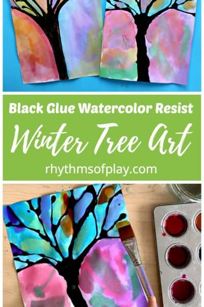 Winter Tree Black Glue Watercolor Resist Art Project