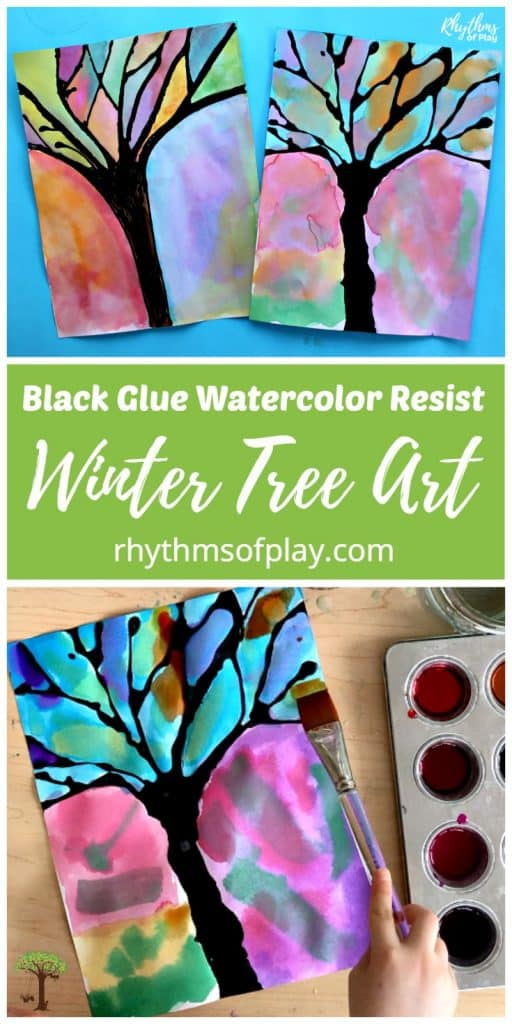 child painting with watercolors and black glue to make winter trees