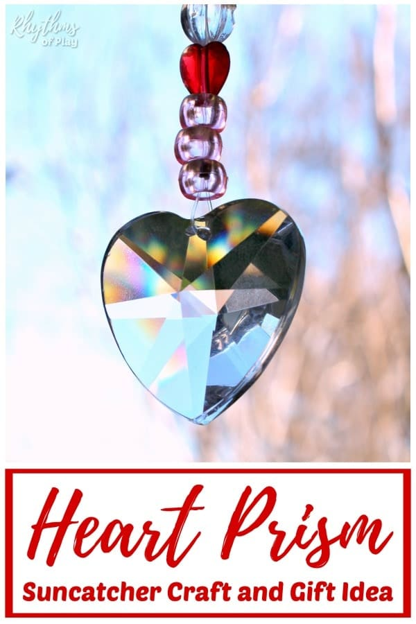 DIY suncatcher prism heart gift idea for Valentine's Day, a wedding or anniversary.