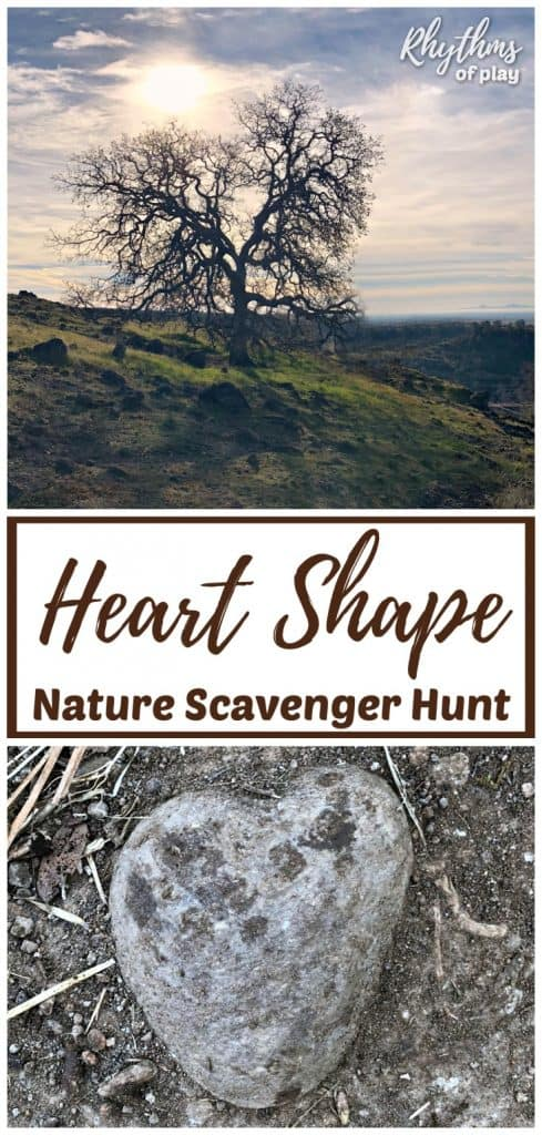 A heart shape nature scavenger hunt is a fun activity for kids, families, and school groups. Get outside on a nature hunt to see how many hearts you can find in the wild. Don't forget to take pictures of all of the heart-shapes you find with your camera! #naturelover #nature #scavengerhunt #kidsactivities