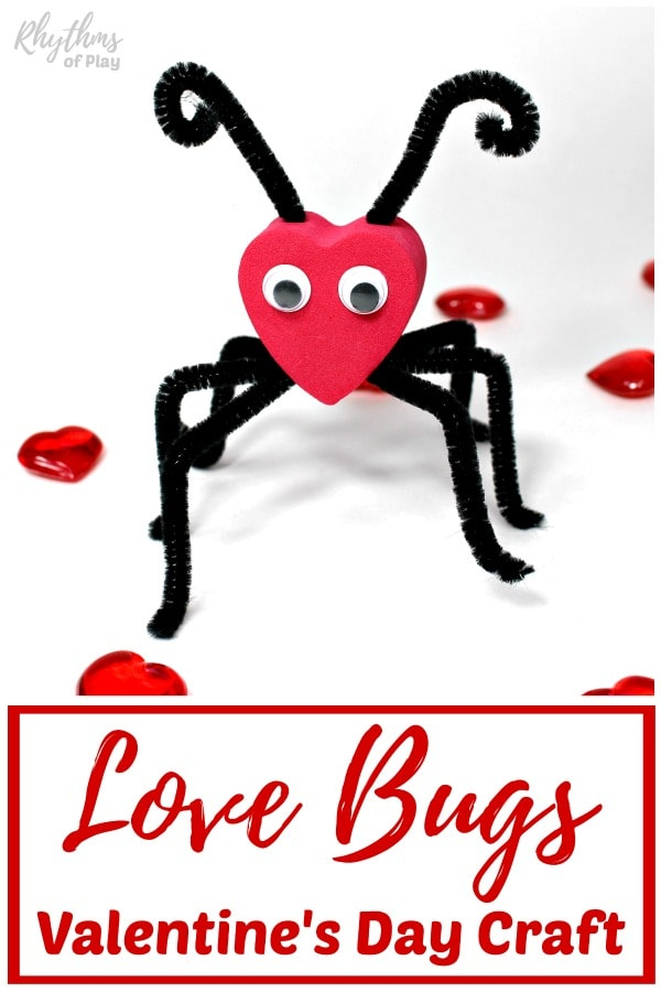 love bug craft with foam hearts and pipe cleaners