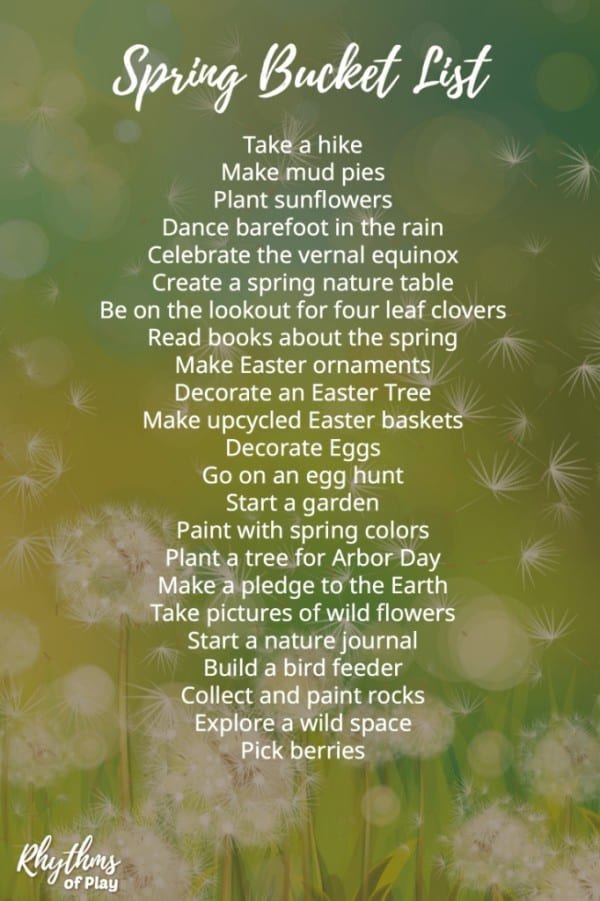 spring bucket list of spring activities, art project and craft ideas