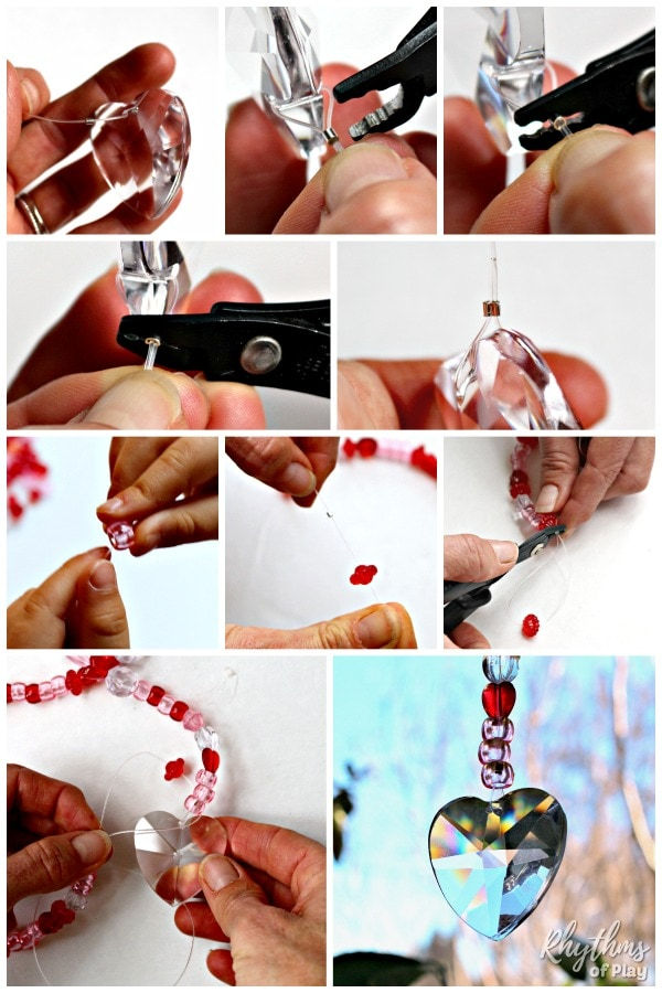 Heart prism suncatcher step by step photo tutorial
