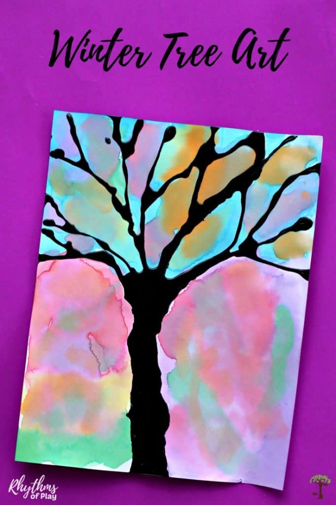winter tree silhouette watercolor painting ideas