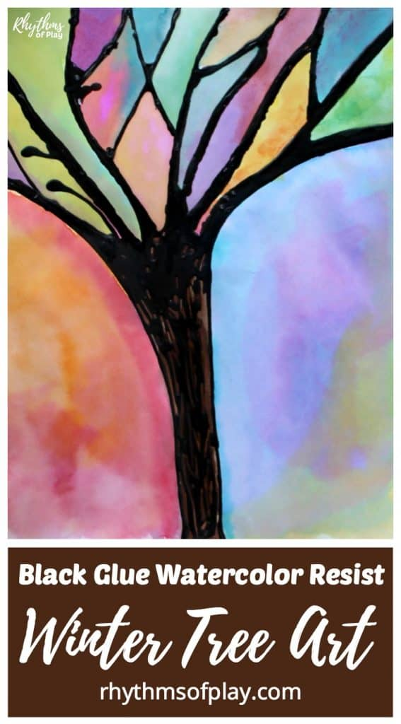 Winter tree art watercolor and black glue