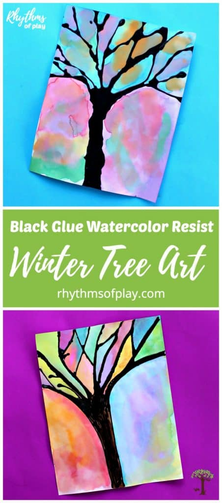 Two winter tree art watercolor paintings