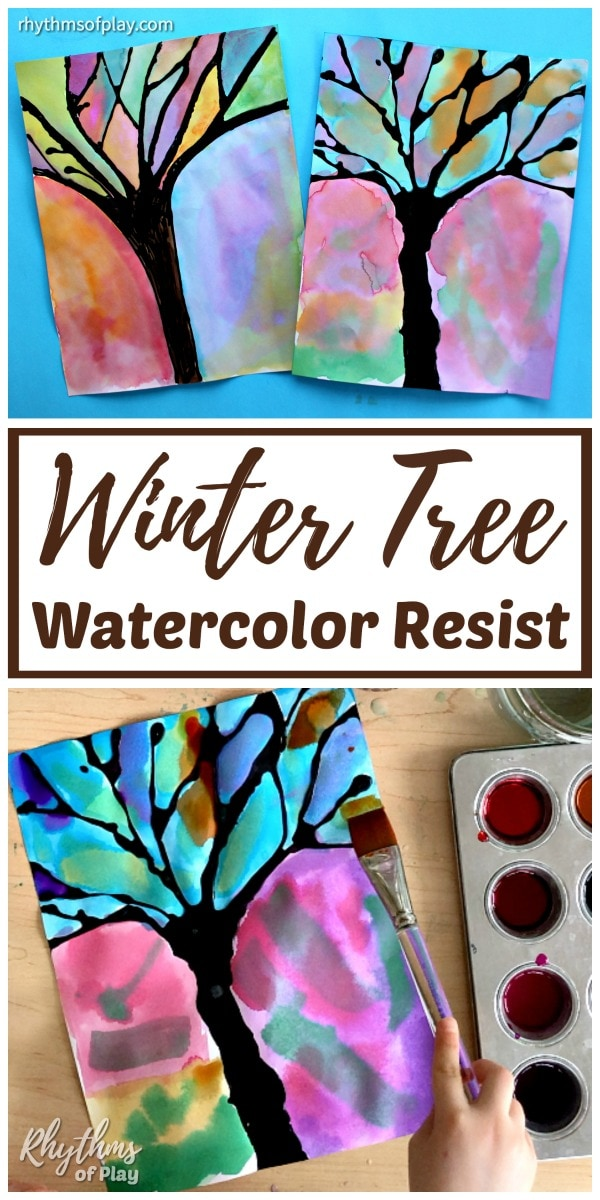 winter tree silhouette art examples made with black glue and watercolors