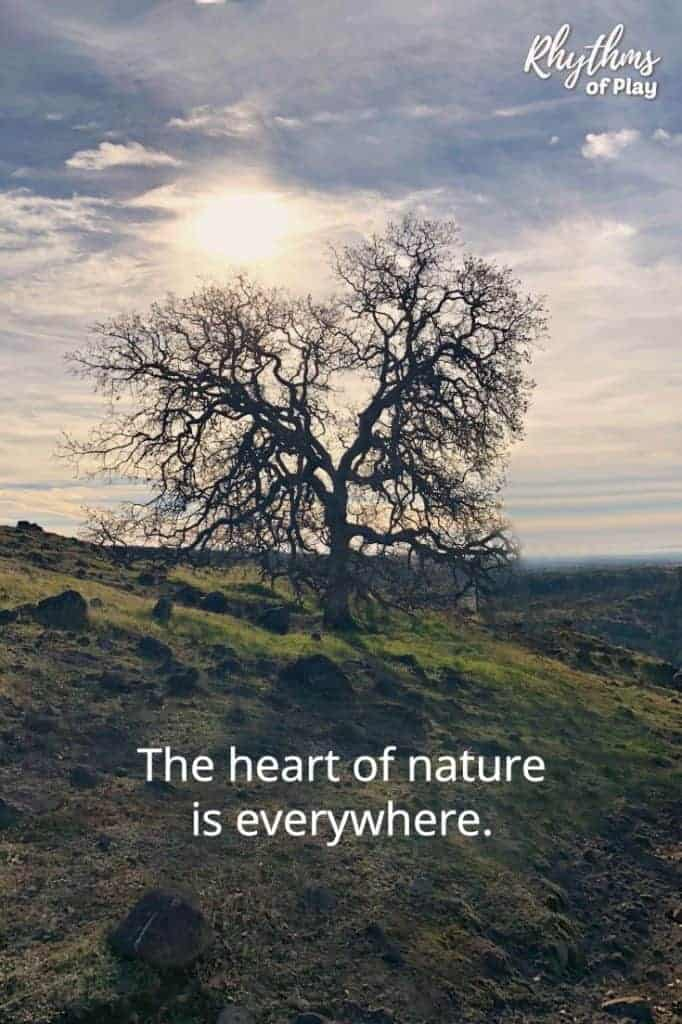 "Heart shaped tree with quote, ""The heart of Nature is Everywhere."""
