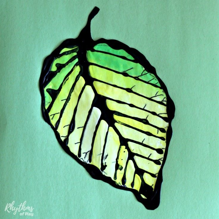 Beach leaf art for kids - watercolor painting
