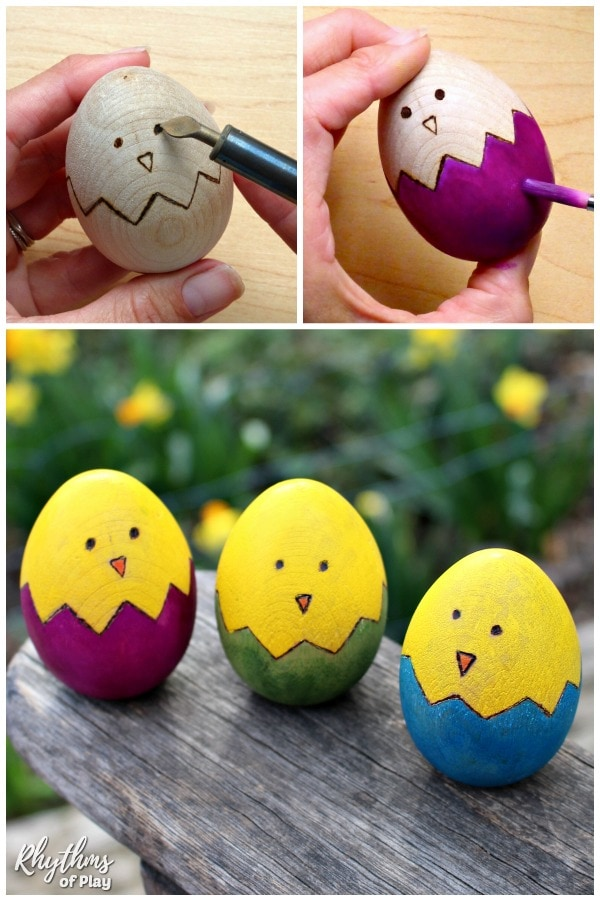 Easter chick wooden Easter egg decorating photo tutorial