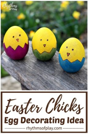 cute easter chick wooden egg craft and decorating idea