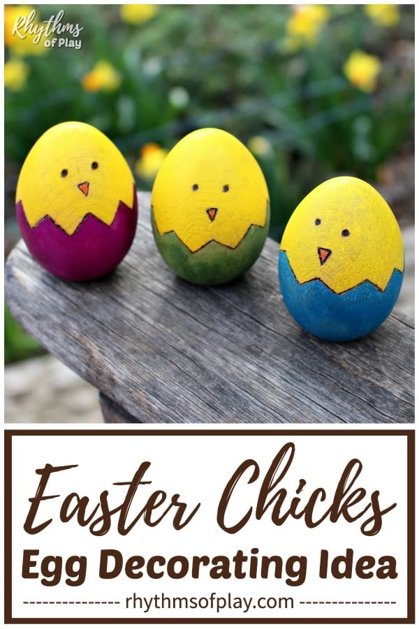 Cute Easter Chick Wooden Egg Decorating Idea | Rhythms of Play