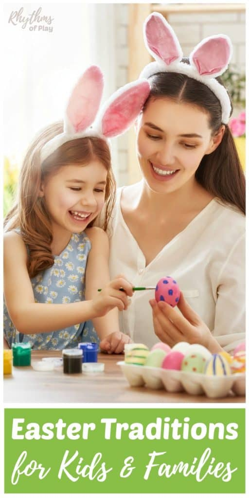 mother and child painting easter eggs
