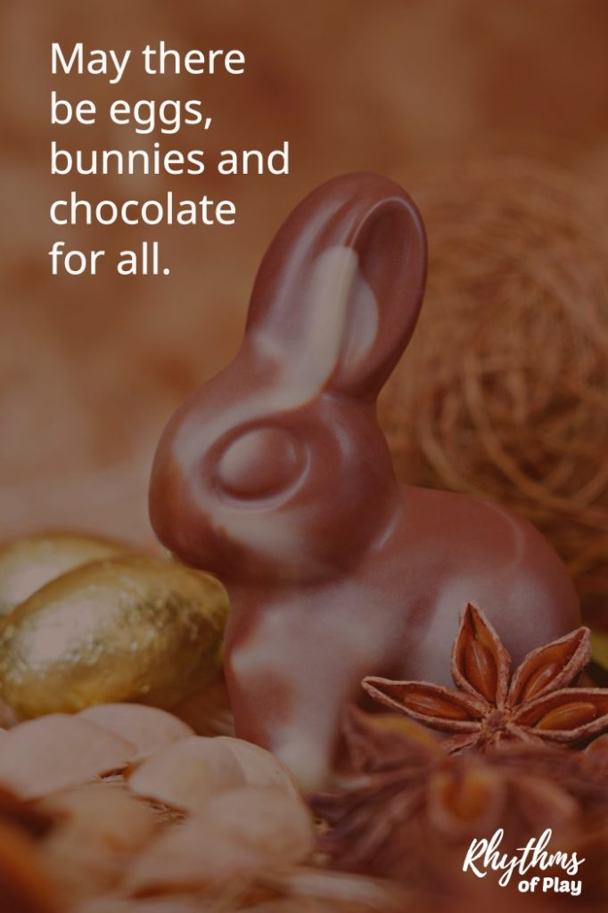 chocolate bunny and chocolate foil eggs