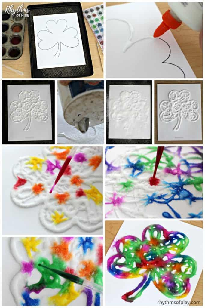 rainbow shamrock art project tutorial in pictures