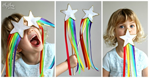 Magic fairy princess wands with rainbow ribbon streamers DIY toy for kids