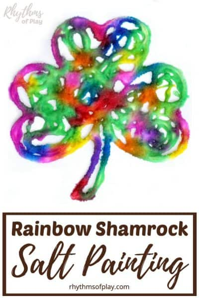 raised salt paint shamrock in a rainbow of colors.