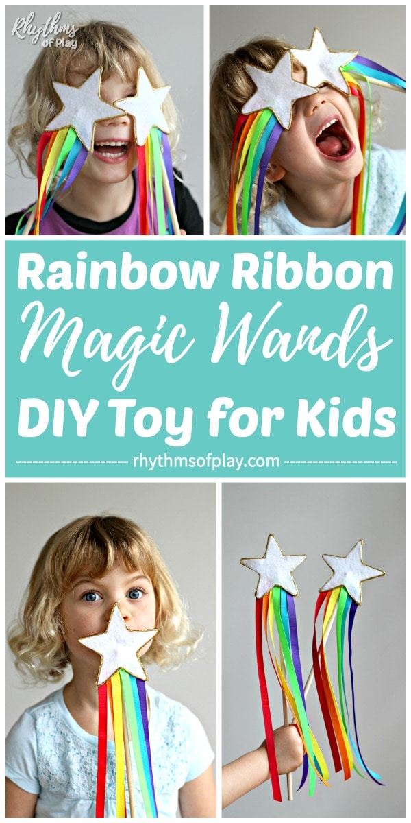 DIY magic wands made with a felt star and rainbow ribbons.