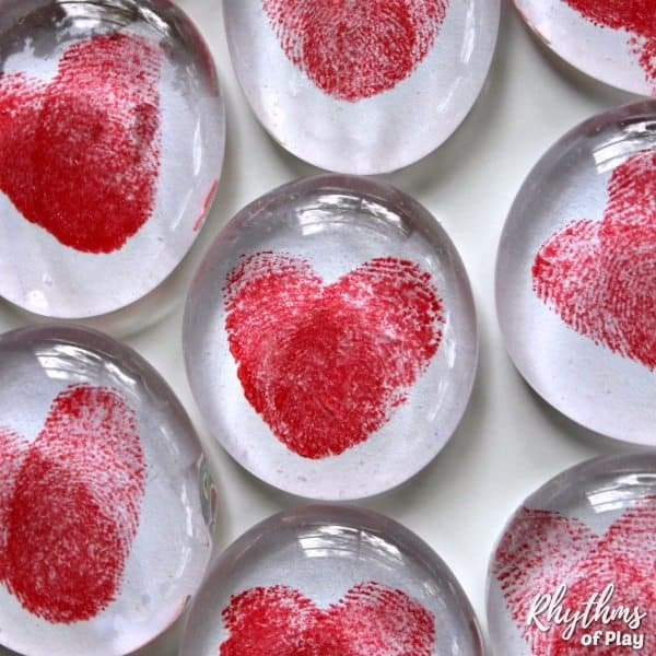 Red Thumbprint heart art glass magnets