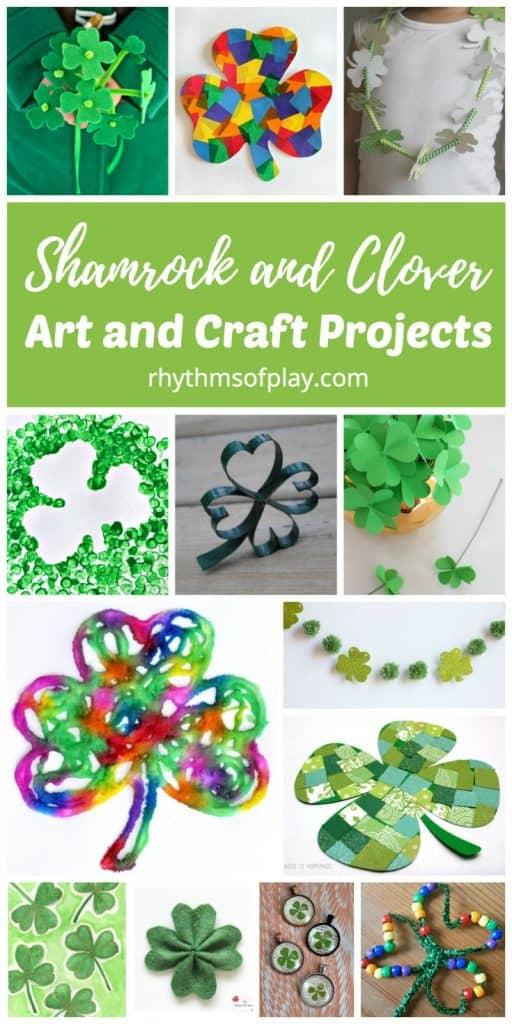 Shamrock art projects, shamrock craft projects, clover craft projects, and STEAM projects for kids