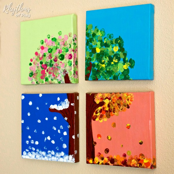 Four seasons handprint tree fingerprint tree art