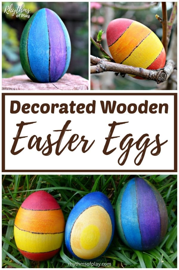 decorated wooden Easter egg craft for kids and adults