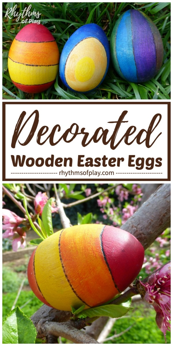 decorated wooden Easter eggs DIY