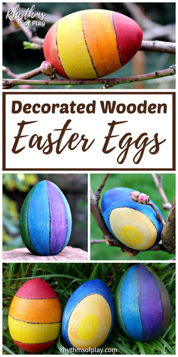 decorated wooden Easter egg craft idea