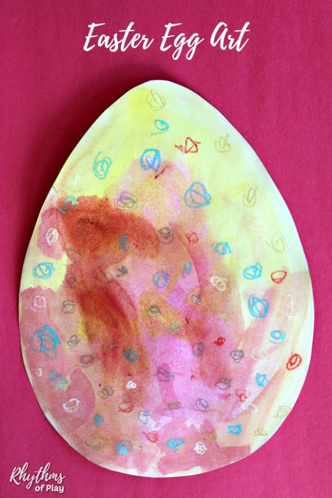 Easter Egg Art with oil pastels and watercolors
