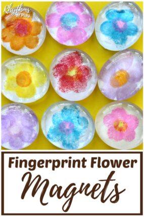 fingerprint art flower magnet craft and homemade keepsake gift kids can make.
