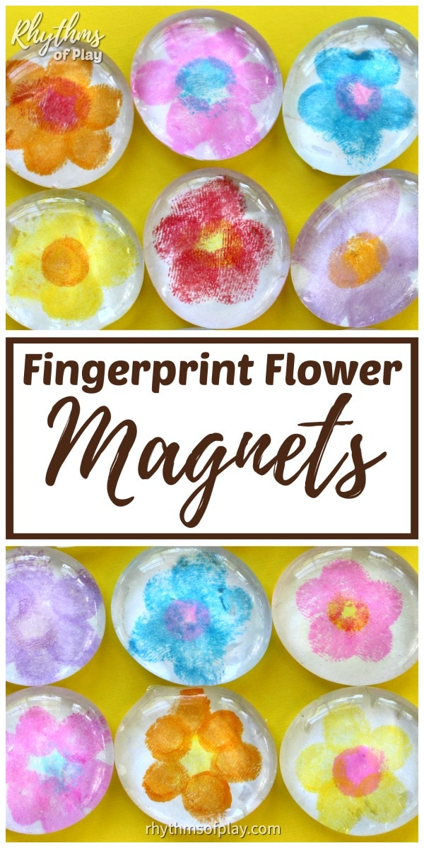 fingerprint flower magnet craft and gift idea kids can make
