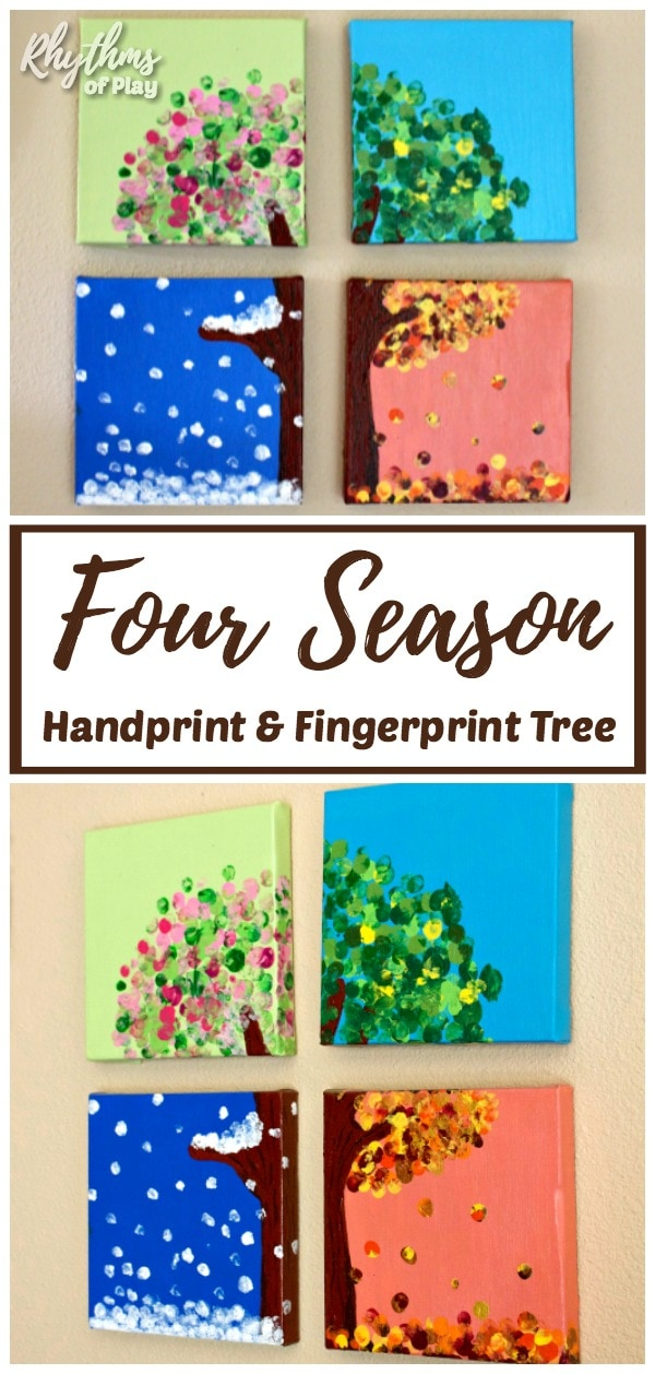 four season handprint art tree with fingerprint art