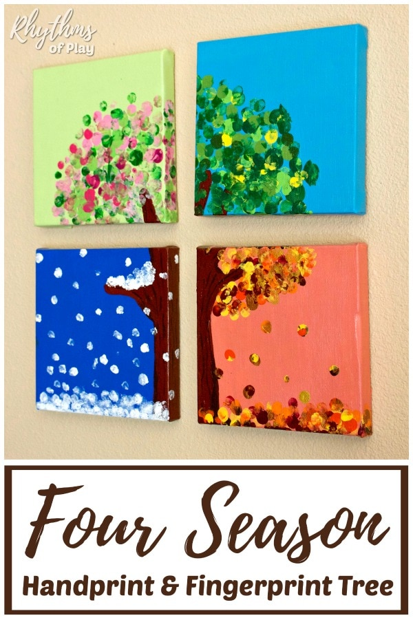 four season handprint art and fingerprint art tree