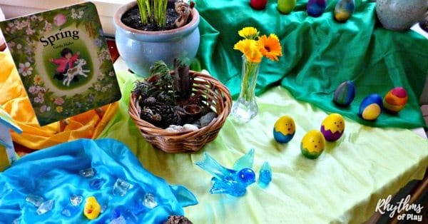 make a spring nature table for the vernal equinox