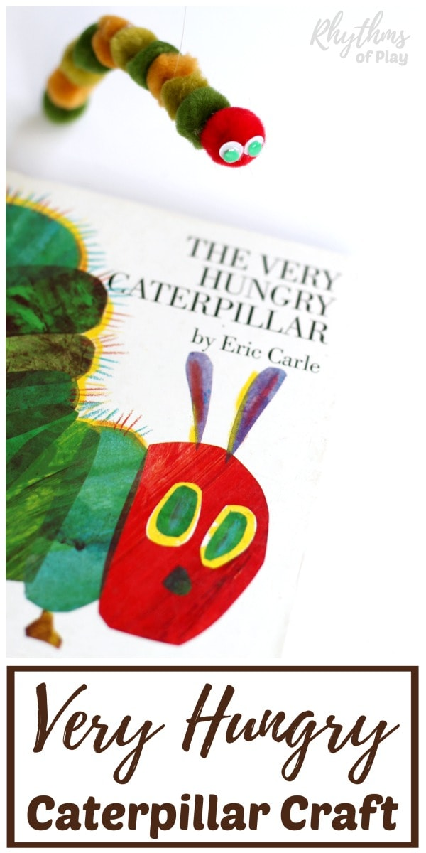 very hungry caterpillar puppet craft and DIY toy for kids