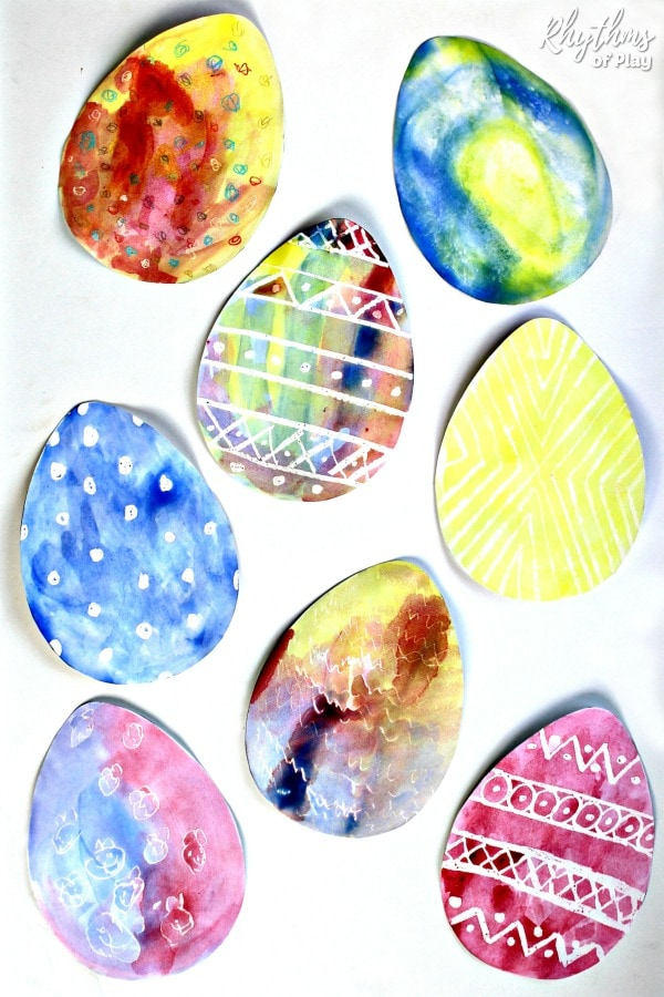 Watercolor surprise Easter Egg Art ideas for kids
