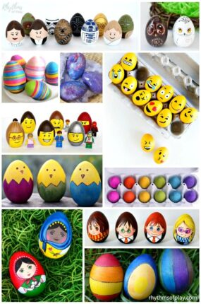 wooden decorated Easter eggs - Easter egg crafts for kids and adults