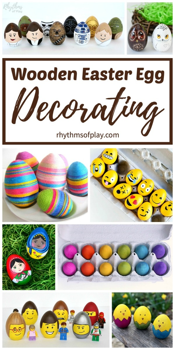 wooden decorated Easter eggs