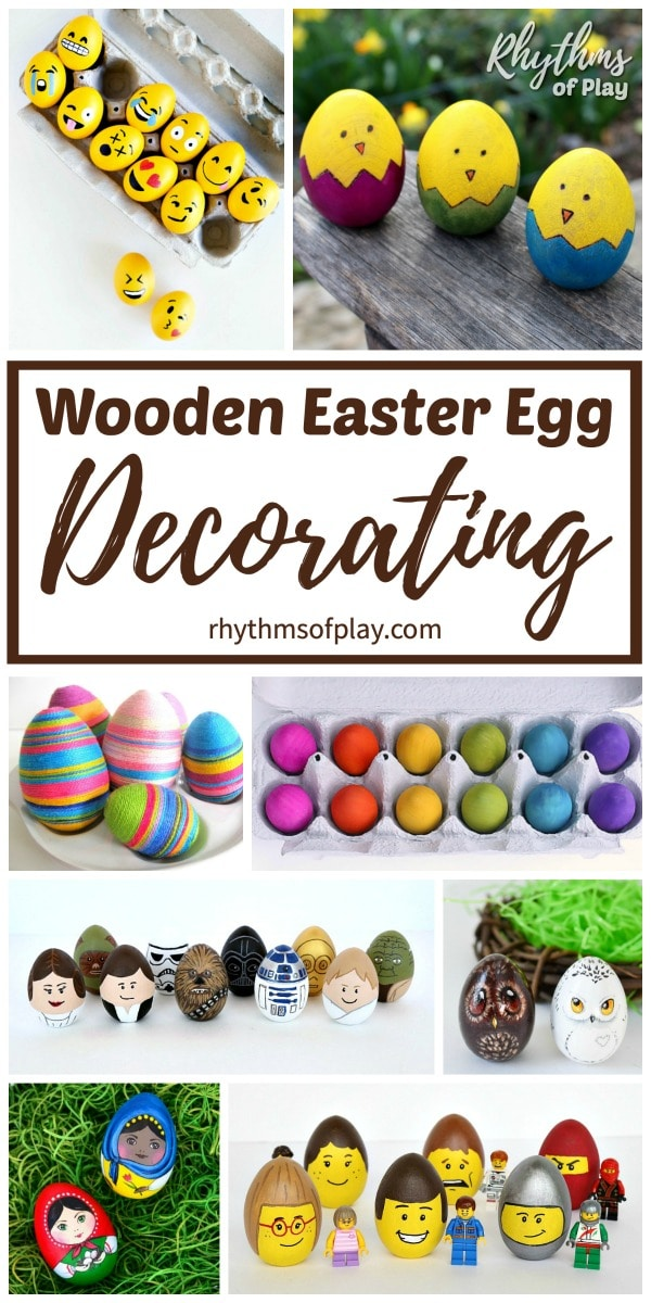 decorated wooden Easter eggs for kids and adults