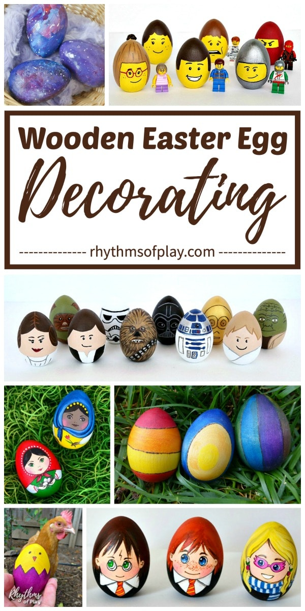 decorated wooden Easter eggs