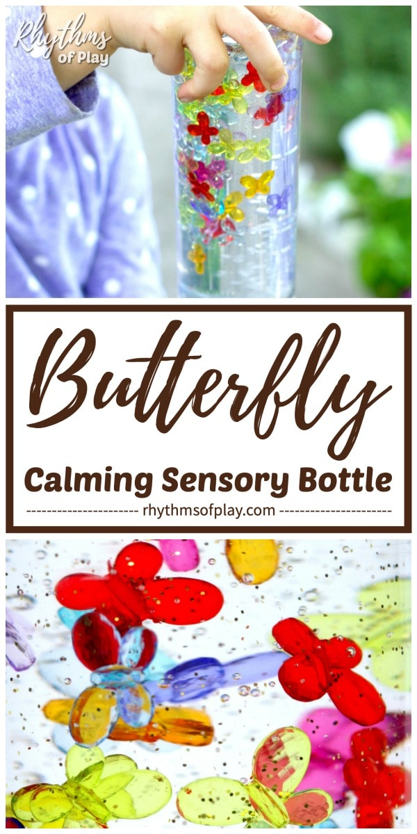 child playing with sensory bottles and close up of butterfly sensory bottles diy