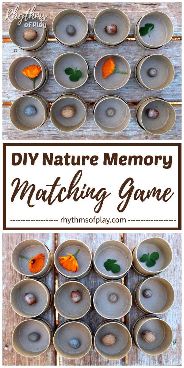 matching games with natural materials and other small items