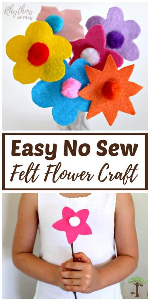 Easy felt flowers with twig stems