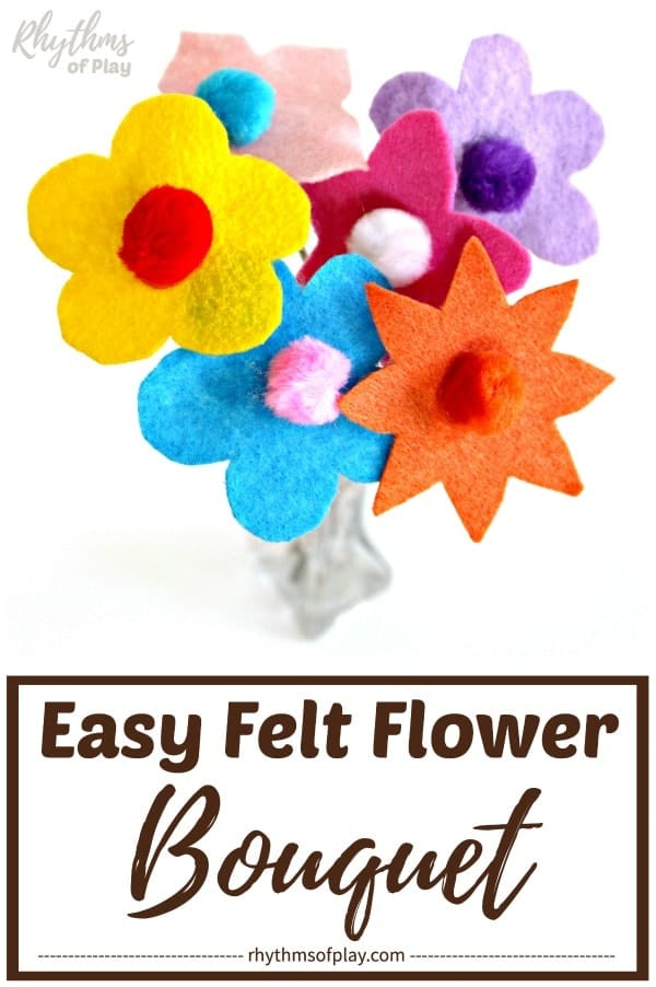 felt flower bouquet makes a lovely centerpiece or Mother's Day gift idea