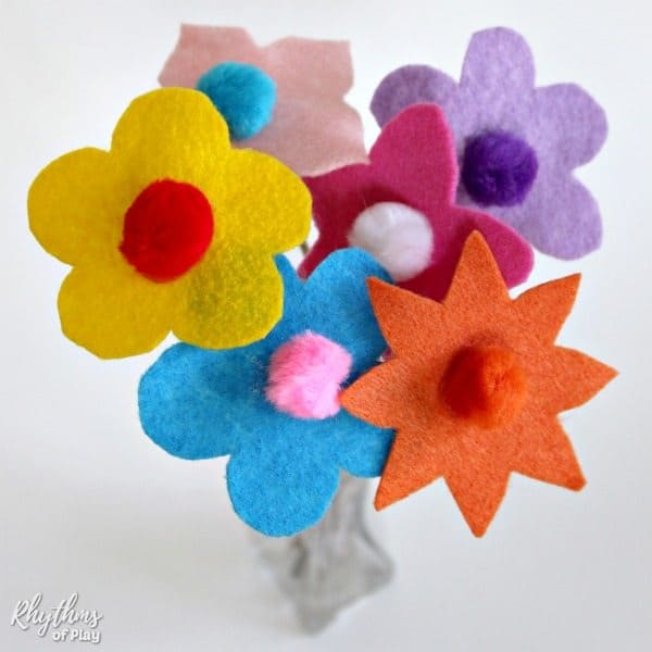 Felt flower bouquet with twig stems