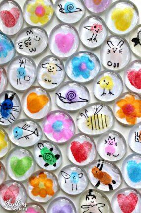 Fingerprint art glass magnet gift idea kids make