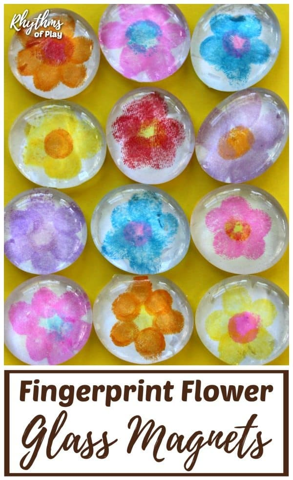 fingerprint flower glass magnets