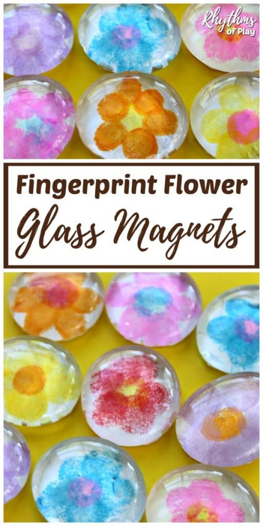 fingerprint keepsake gift idea - fingerprint flower glass magnets