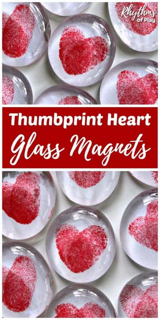 Red Thumbprint heart glass magnets