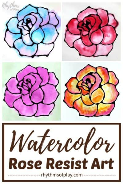watercolor rose art with black glue as the resist medium